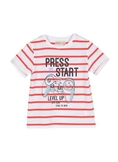 Silversun Kids Erkek Çocuk Baskılı Çizgili Kısa Kollu Tişört Bk 215762 Kırmızı